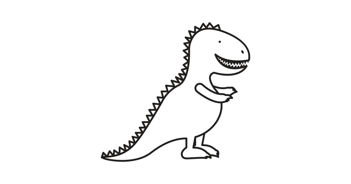 cute dinosaur cartoon outline - dinosaur