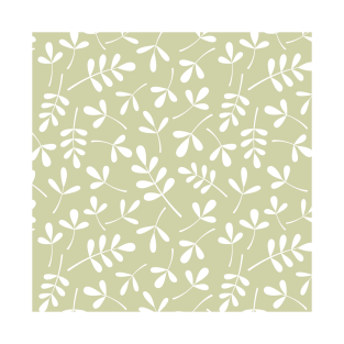 Assorted Leaf Silhouettes White On Lime T Shirt