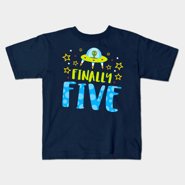 Finally Five Year Old Boy Birthday Kids T Shirt