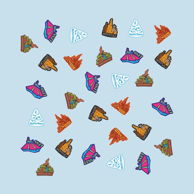 Mountain Range Travel Stickers Pattern