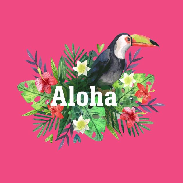 aloha hawaiian flowers and toucan aloha t shirt teepublic