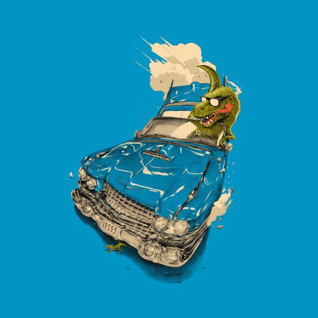 Dinosaur  on a Cadillac