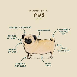Anatomy of a Pug t-shirts