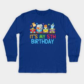 Cute Circus Animals 5th Birthday Party Kids Long Sleeve T Shirt