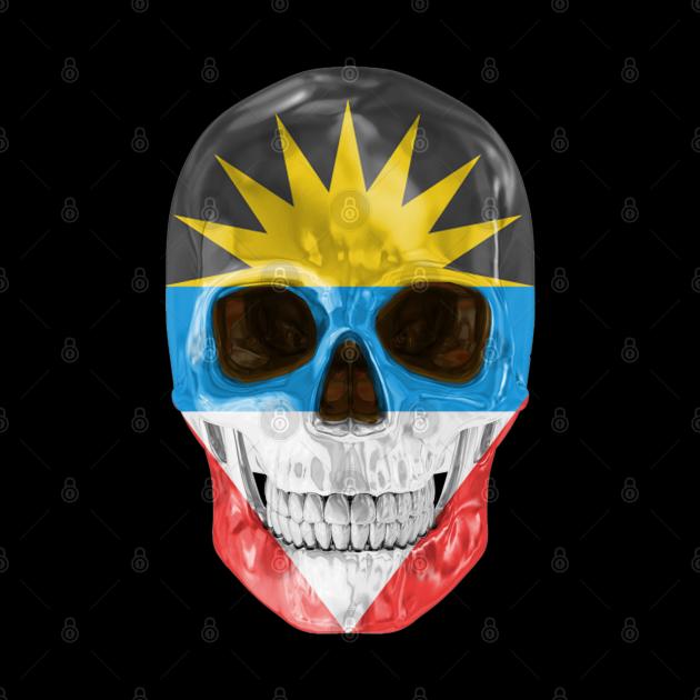 Antigua And Barbuda Flag Skull - Gift for Antiguan or Barbudan With Roots From Antigua And Barbuda