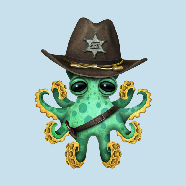 Cute Green Baby Octopus Sheriff