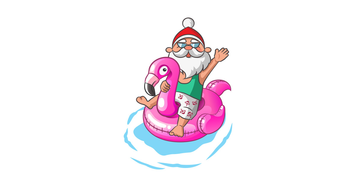 Christmas In July Party Clipart.Christmas In July Santa Hawaiian Flamingo Summer Surf Gift By Ramadangonim