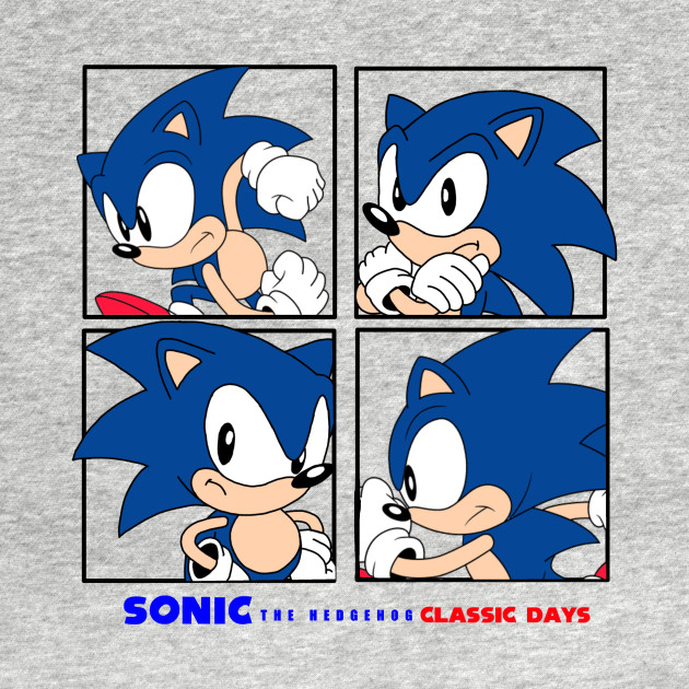 Sonic The Hedgehog Classic Days 4 Square Graphic Sonic The Hedgehog Classic Days Kids T Shirt Teepublic