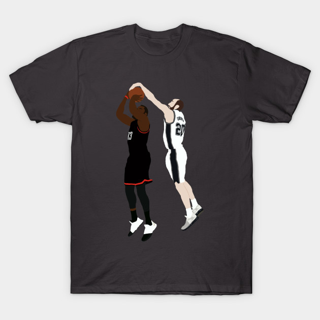 babb917180e Manu Ginobili Block On James Harden - Manu Ginobili - T-Shirt ...