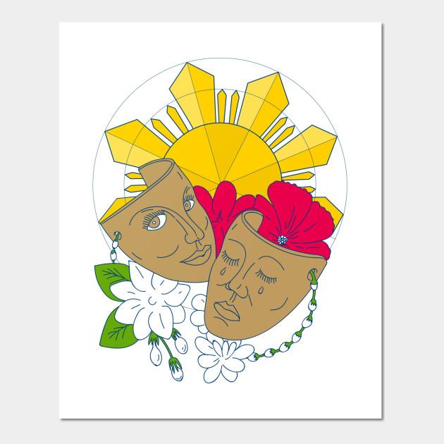Drama Mask Philippine Sun Hibiscus Sampaguita Flower Mono Line ...