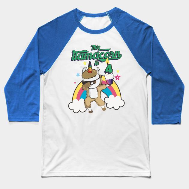 Dabbing Llamacorn Alpaca Llama Unicorn 4TH Birthday Baseball T Shirt