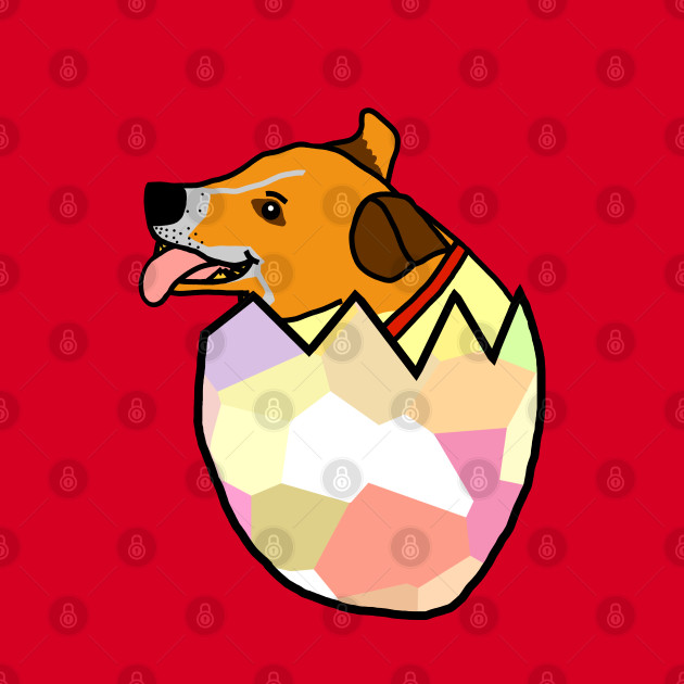 Small Dog Hatching from Easter Egg