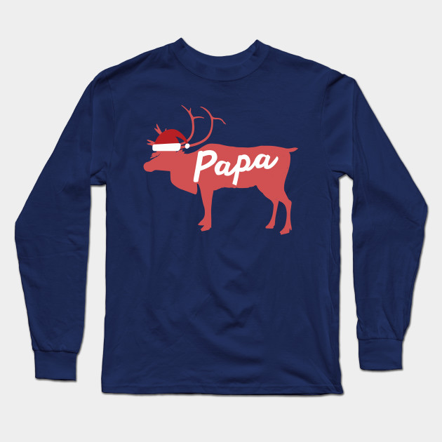 Papa Father Dad Reindeer Family Group Christmas Eve Matching Long Sleeve T-Shirt