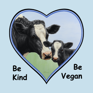 Holstein Cow and Cute Calf Vegan Heart t-shirts