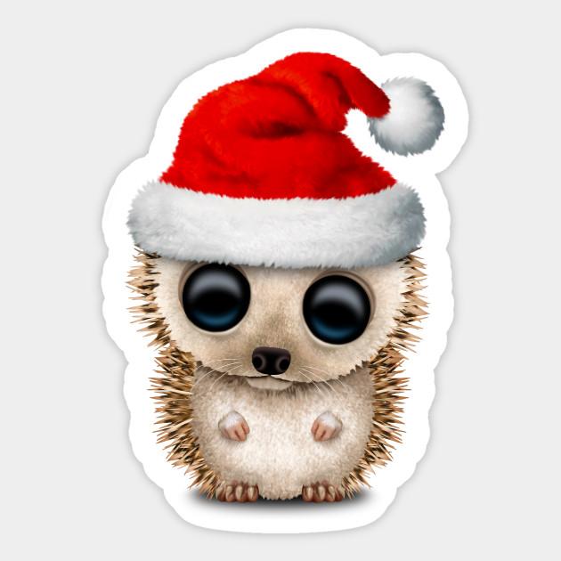 05ad8e062a245 Christmas Hedgehog Wearing a Santa Hat - Christmas - Sticker