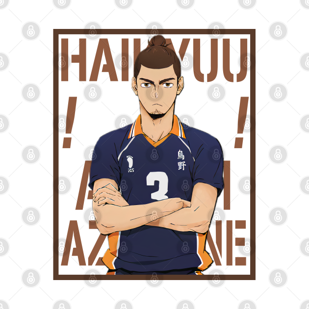 Haikyuu!!: Asahi Azumane with Colored Background Text
