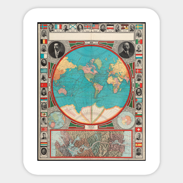 Vintage Map of The World (1913) - World Map - Sticker | TeePublic