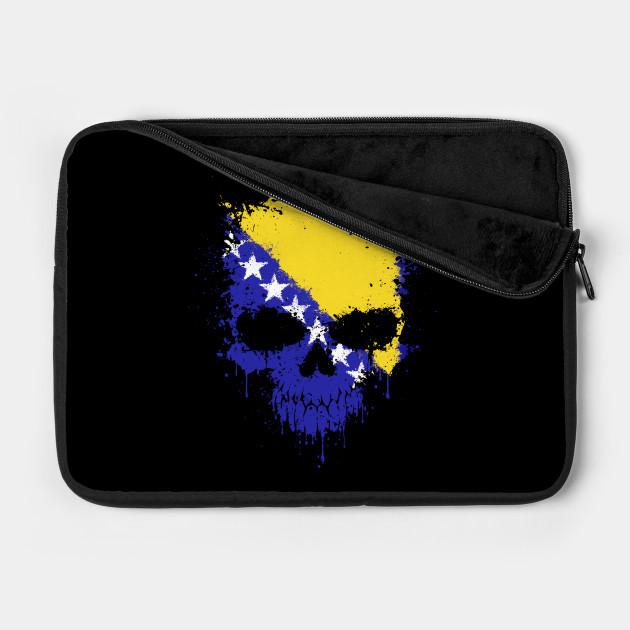 Chaotic Bosnian Flag Splatter Skull