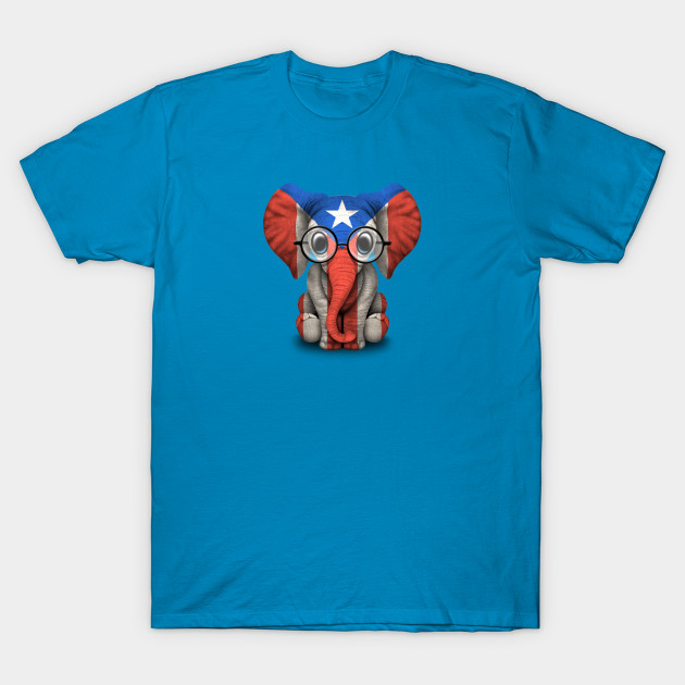 461d5a6834d72 Baby Elephant with Glasses and Puerto Rican Flag - Puerto Rico - T ...