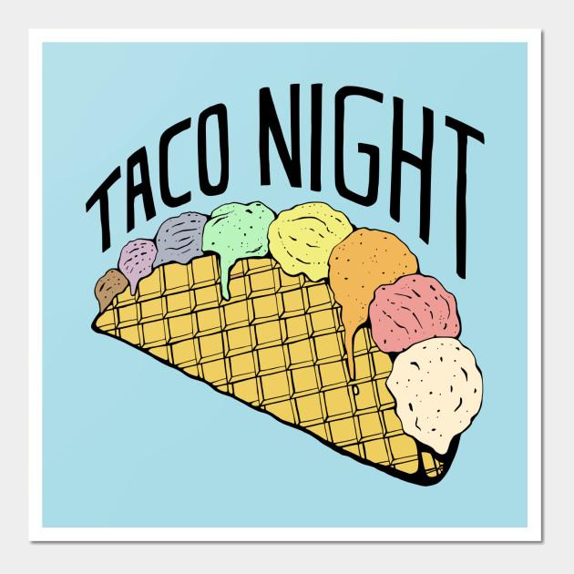 Rainbow Ice Cream Taco Night - Ice Cream - Wall Art   TeePublic
