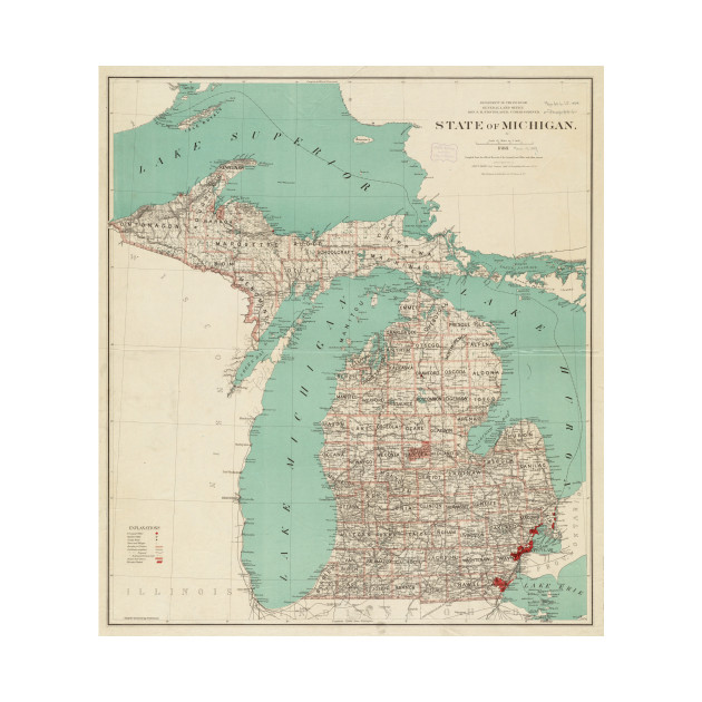 Vintage Map Of Michigan 1888 Michigan Map T Shirt Teepublic