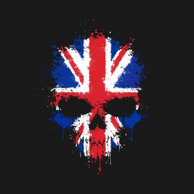Chaotic Union Jack British Flag Splatter Skull
