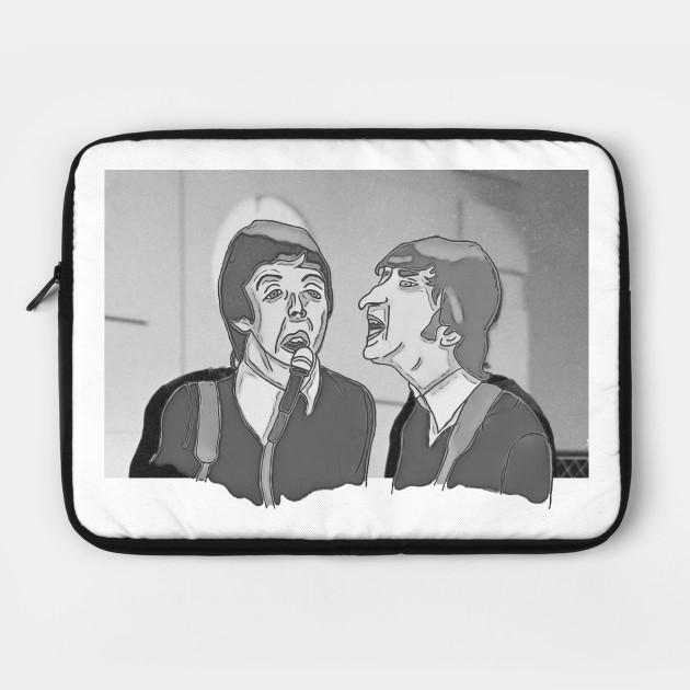 John Lennon And Paul Mccartney Funny Cartoon The Beatles Band Laptop Case Teepublic