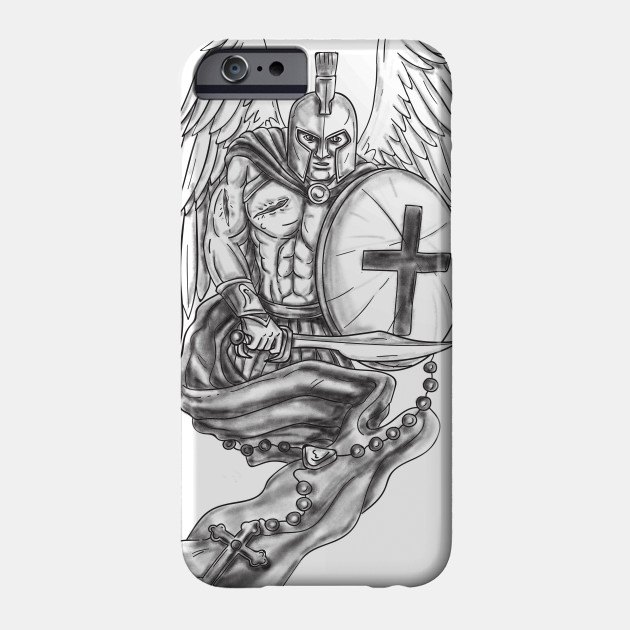 f19a69767256c Spartan Warrior Angel Shield Rosary Tattoo - Spartan Warrior Angel ...