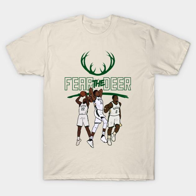 f7f7e759fca NBA Milwaukee Bucks  Fear the Deer  Giannis Antetokounmpo Eric Bledsoe Khris  Middleton T-Shirt