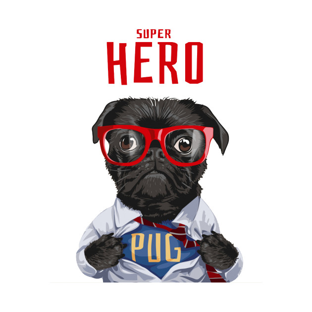 fff7fdd3a800d Superhero Pug Dog Illustration
