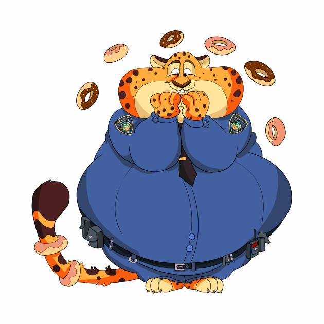 Flabby doughnut loving cop