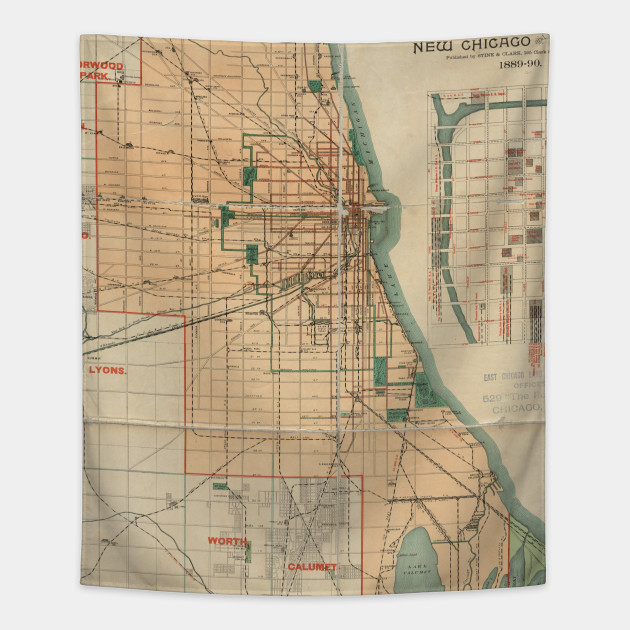 Lyons Illinois Map.Vintage Map Of Chicago Illinois 1889 Chicago Map Tapestry