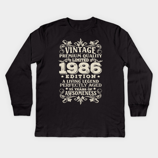 Vintage Made In 1986 33 Years Old Shirt 33rd Birthday Gift Kids Long Sleeve T