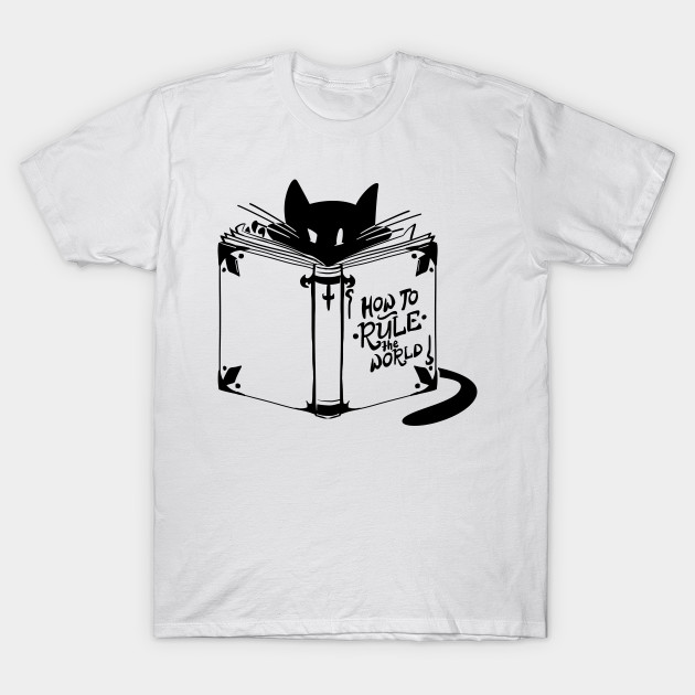 cool cat tshirt how to rule the world quote and cat