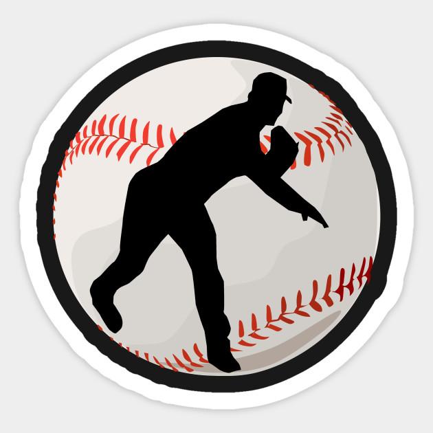 baseball pitcher silhouette baseball sticker teepublic