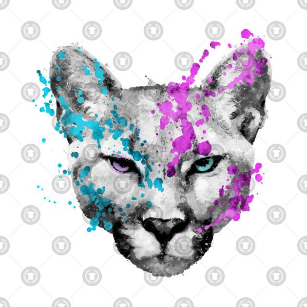 26782598b0bdc Watercolor mountain lion artsy watercolour cougar painting