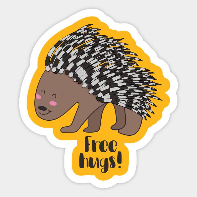 fb6854b73 Free Hugs- Cute Porcupine - Porcupine - Sticker | TeePublic
