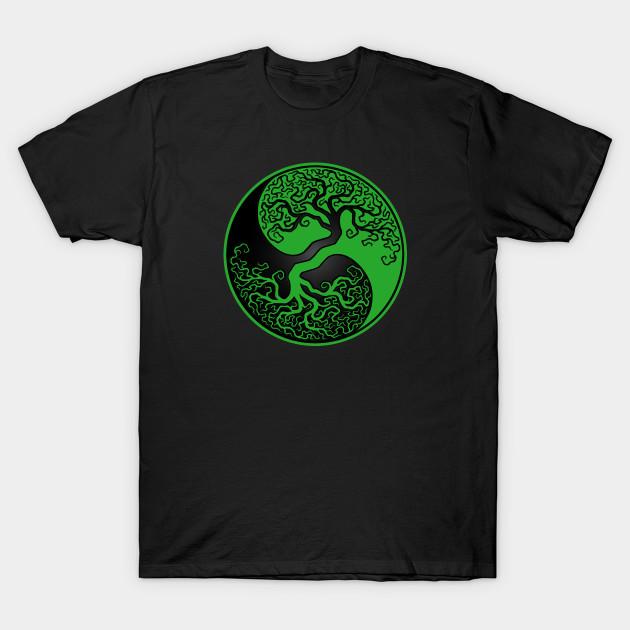 2c063a9e7 Green and Black Tree of Life Yin Yang - Yin Yang - T-Shirt | TeePublic