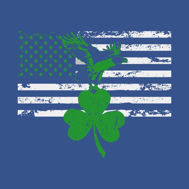 St. Patrick's Day Irish American Flag Eagle Shamrock