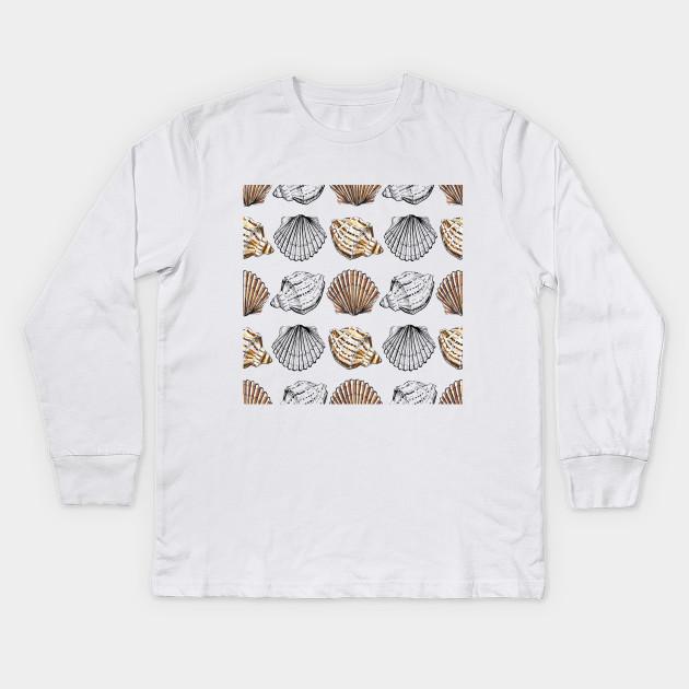 9bb7949d5 Watercolor pattern with seashells - Seashells - Kids Long Sleeve T ...