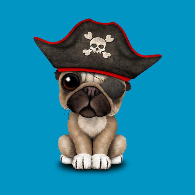 Cute Pug Puppy Pirate