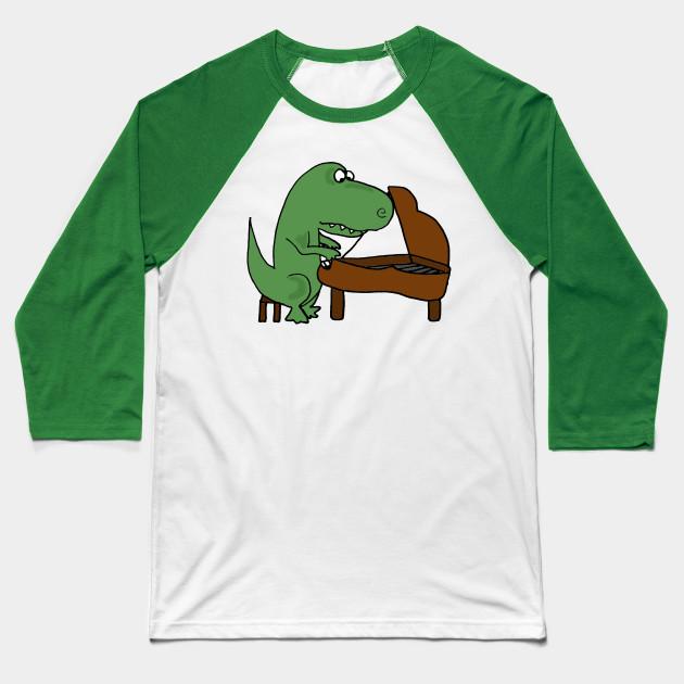 7a2c6957 Cute Funny Green T-rex Dinosaur Playing Piano Cartoon Baseball T-Shirt