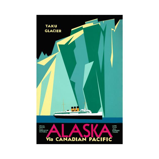 Vintage Travel Poster Alaska Taku Glacier