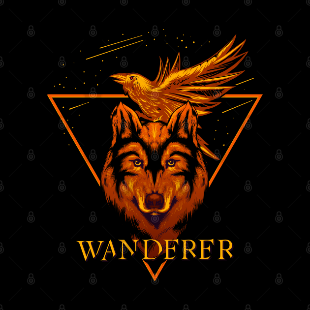 Wanderer wolf and raven design