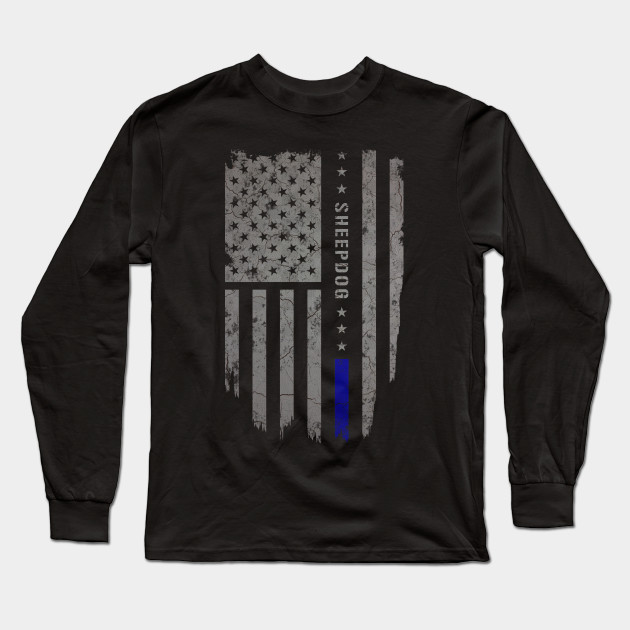 Sheepdog Thin Blue Line American Flag Shirt - Sheepdog - Long Sleeve ... 6294aa240f5