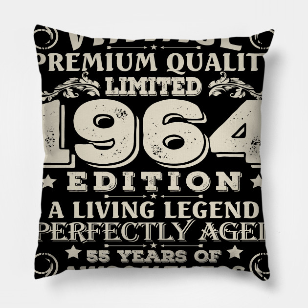 Vintage Made In 1964 55 Years Old Shirt 55th Birthday Gift Pillow