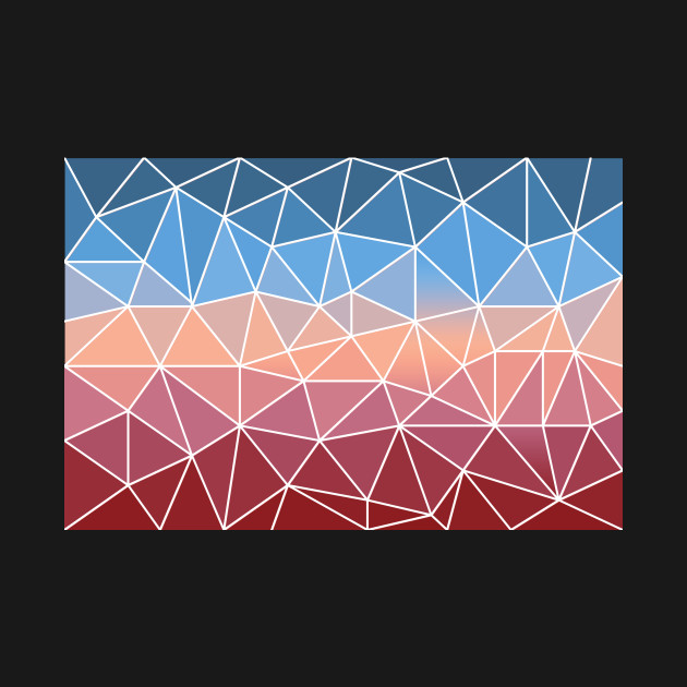 Pink rose blue sky abstract polygon multicolor pattern
