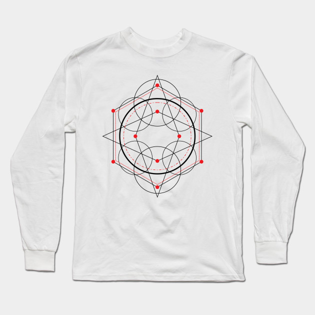Simple red and black mandala Long Sleeve T-Shirt