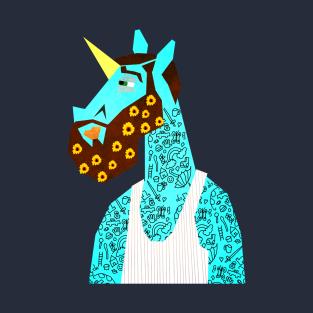 Flower Power Beard Unicorn t-shirts