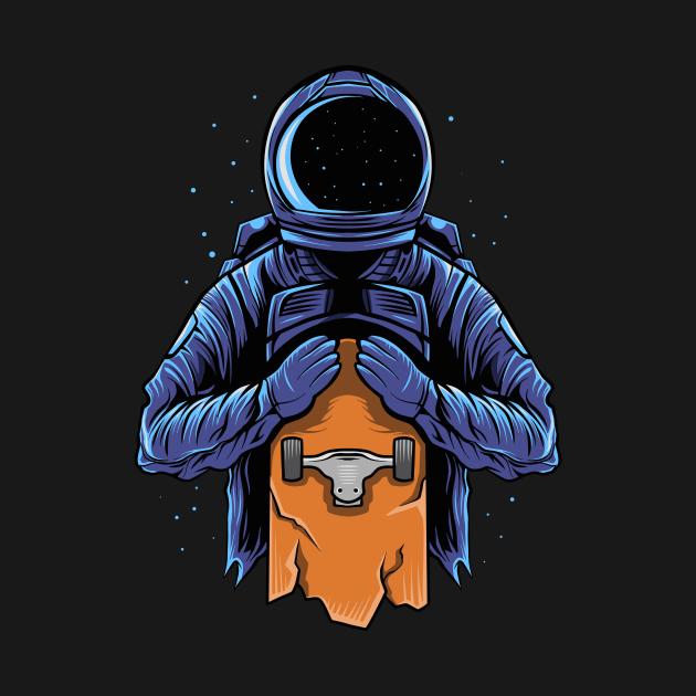 Astronaut hold on a skateboard on dark
